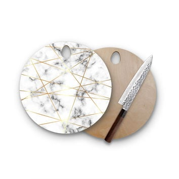 Geometric Pattern White Marble Faux Gold Round Wood Cutting Board Trendy Unique Home Decor Cheese Board