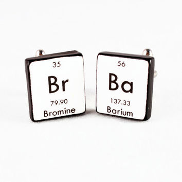 Breaking Bad Cufflinks Science Bromine Barium Periodic Table of Elements Mens Accessories Fathers Day Graduation Birthday Gift Idea