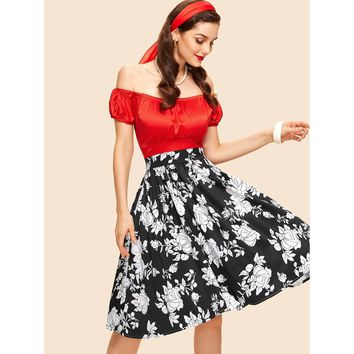 Multicolor Off Shoulder Puff Sleeve Floral Print Dress