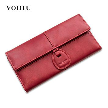 2017 Minimalist Vintage Brand Leather Women Long Slim Wallet Female Thin Clutch Purse Wristlet Coin Credit Card Holder Cuzdan