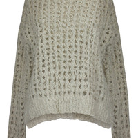 Lambie Loose Knit Crew Neck Sweater - Oatmeal