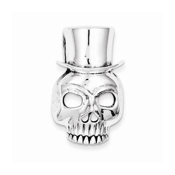 Sterling Silver Skull w/Top Hat Pendant