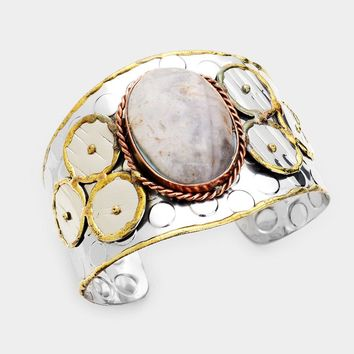 Oval Natural Stone Embossed Metal Cuff Bracelet
