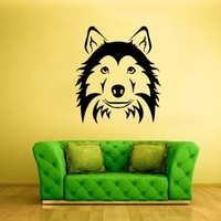 Wall Vinyl Sticker Decals Decor Art Bedroom Design Husky Dog Face Head Animal (Z1996)