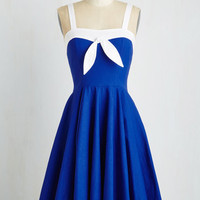 Nautical Long Sleeveless A-line Mainstay by my Side Dress by ModCloth