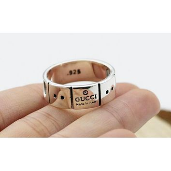 GUCCI New Popular 925 Silvery Women Men Simple Heart Type Lovers Ring I12952-1