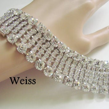 Exquisite 50s Vintage Weiss Rhinestone Bracelet / Wedding / Bridal / Wide / Designer Signed / Jewelry / Jewellery