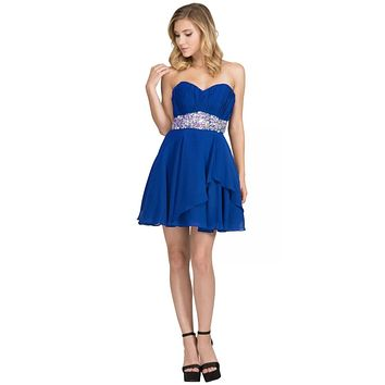Short Chiffon Semi Formal Dress Royal Blue Rhinestone Waist