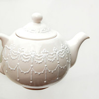 White lace teapot for Mother's Day Gift