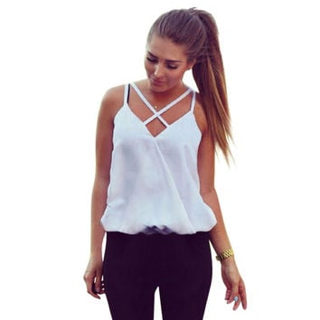 Women Fashion Summer Casual Vest Top Sleeveless Shirts Blouse Tank Tops Casual Blouse