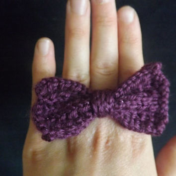 Hand-Knit Bow or Flower Ring