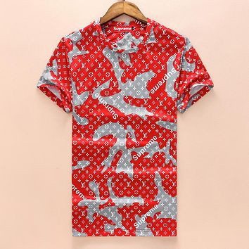 LV Louis Vuitton Summer Fashionable Women Men T-Shirt Top Blouse Red