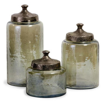 "Canister Set - Small Is 6.75 "" H X 6 ""  Dia"