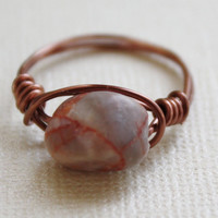 Redline marble ring, stone ring, rock ring, wire wrapped ring