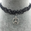 Tattoo Choker with Silver Peace Symbol