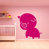 Wall Vinyl Sticker Decals Decor Art Bedroom Design Mural Nursery Kids Baby Pig Magic Funny (z652)