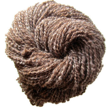 Shetland Wool Hand Spun Art Yarn, Brown, Spiral Plied, Bulky, 3.5 ounces