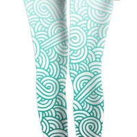 Gradient turquoise blue and white swirls doodles Leggings