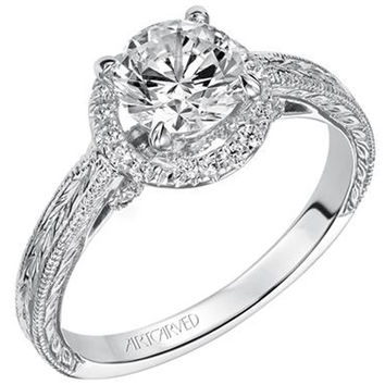 "Artcarved ""Makayla"" Diamond Halo Engagement Ring with Engraved Details"