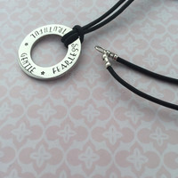 "Hand stamped washer with ""Truthful Gentle Fearless"" or can be personalised with names, date of births, little quotes, inspirational words."