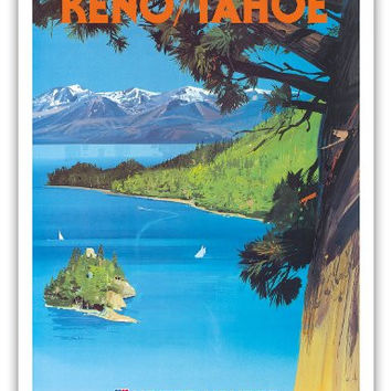 Reno, Nevada - Lake Tahoe, California - United Air Lines - Vintage Airline Travel Poster by Tom Hoyne c.1965 - Master Art Print - 9in x 12in