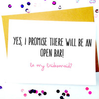 Funny Bridesmaid Card/Funny Wedding Invitations/Humor Bridesmaid/Funny Wedding Card/Funny Greeting Cards/Cute Wedding Card/Bridesmaid Card