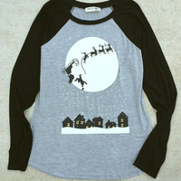 Santa's Sleigh Ride Raglan Holiday Shirt