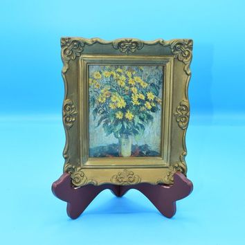 Gold Framed Sunflowers Picture Vintage Small Plastic Ornate Gold Frame Floral Picture under Glass Montgomery Ward Small Wall Hanging