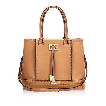 Tan brown structured tote handbag - shopper / tote bags - bags / purses - women