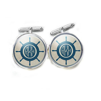 Nautical Ship Wheel Monogram Cuff links