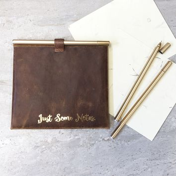"""Just Some Note"" Leather Envelop and Cards"