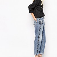Mih Jeans Linda High Rise Mom Jeans Rope Embroidery Detail