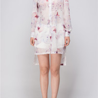 LIGHT WEIGHT FLORAL LONG SHIRT