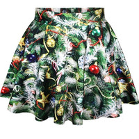Christmas Trees Print Short Saia Skirt 2014 Autumn Fashion Casual Skirts Female Pleated Skirts green (Size: M, Color: Green) = 5738992001