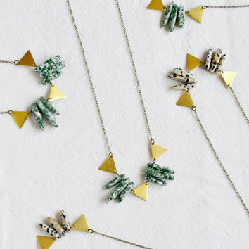 Bunting necklace // Green jade minimal necklace marbled specked mineral necklace, geometric layering necklace, dalmatian jasper