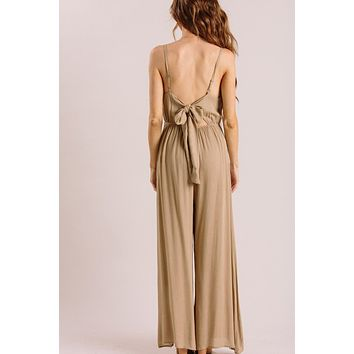 Harlow Beige Polka Dot Bow Back Jumpsuit