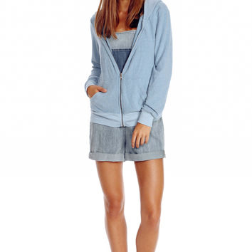 Wildfox Essentials Beach Club Zip-Up Sweatshirt