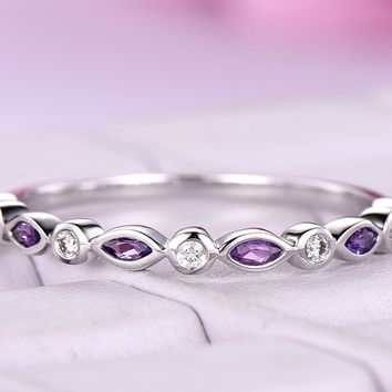 Marquise Amethyst Diamond Wedding Band Half Eternity Anniversary Ring 14K White Gold