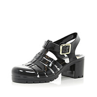Black block heel jelly sandals - flat sandals - shoes / boots - women
