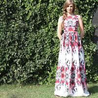 Maxi pink dress 'flower bomb' with open back