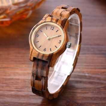 SIHAIXIN small zebra wood quartz wristwatch women analog simple vintage unique sandal wooden band strap watches ladies gift