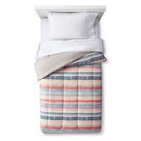 Comforter Hand Drawn Stripe Coral - Room Essentials™