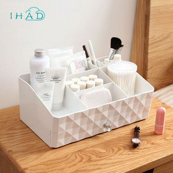 Double layer makeup organizer  plastic box multi-use drawer box jewelry cosmetic storage box home small items jewelry box case