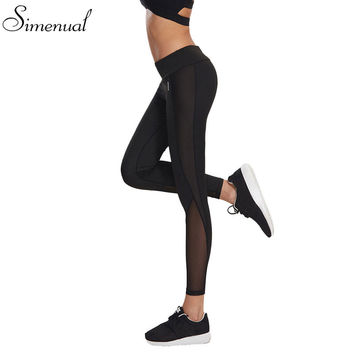 Mesh splice fitness leggings pants female clothing harajuku athleisure slim push up leggings women elastic black sexy jeggings
