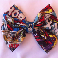 Marvel Avengers Large Hair Bow, Superhero, Comics, Iron Man, Captain America, Thor, Hulk, Spiderman, Wolverine, X-Men, Comic Book, Geek