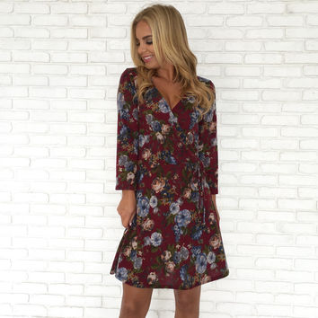 Fleece & Floral Wrap Dress