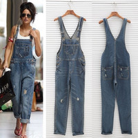 Womens Ladies Baggy Denim Jeans Full Length Pinafore Dungaree Overall Jumpsuit AP = 1929734404