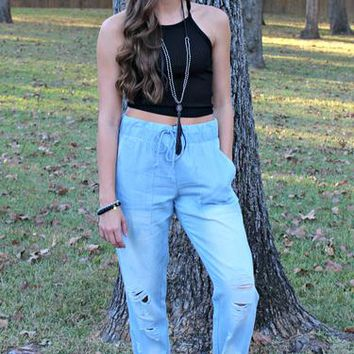 Forever Young Ribbed Cami Crop Top in Black