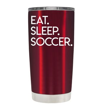 TREK Eat Sleep Soccer on Translucent Red 20 oz Tumbler Cup
