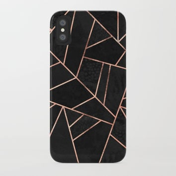 Velvet Black & Rose Gold iPhone Case by elisabethfredriksson